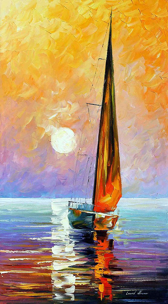 gold sailboat palette knife