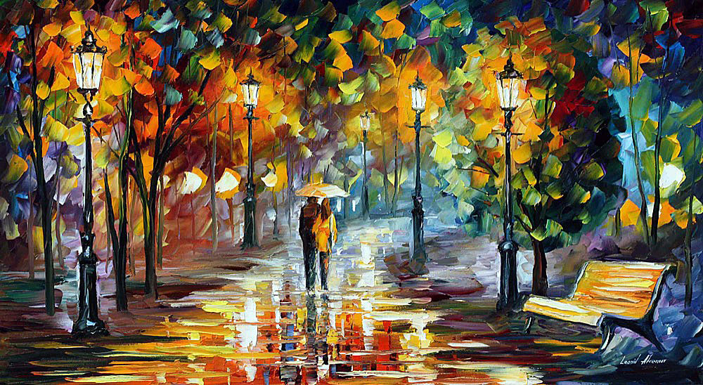 Fall In Love Couples Wallpapers Soul Of The Rain Palette Knife Oil Painting On Canvas By