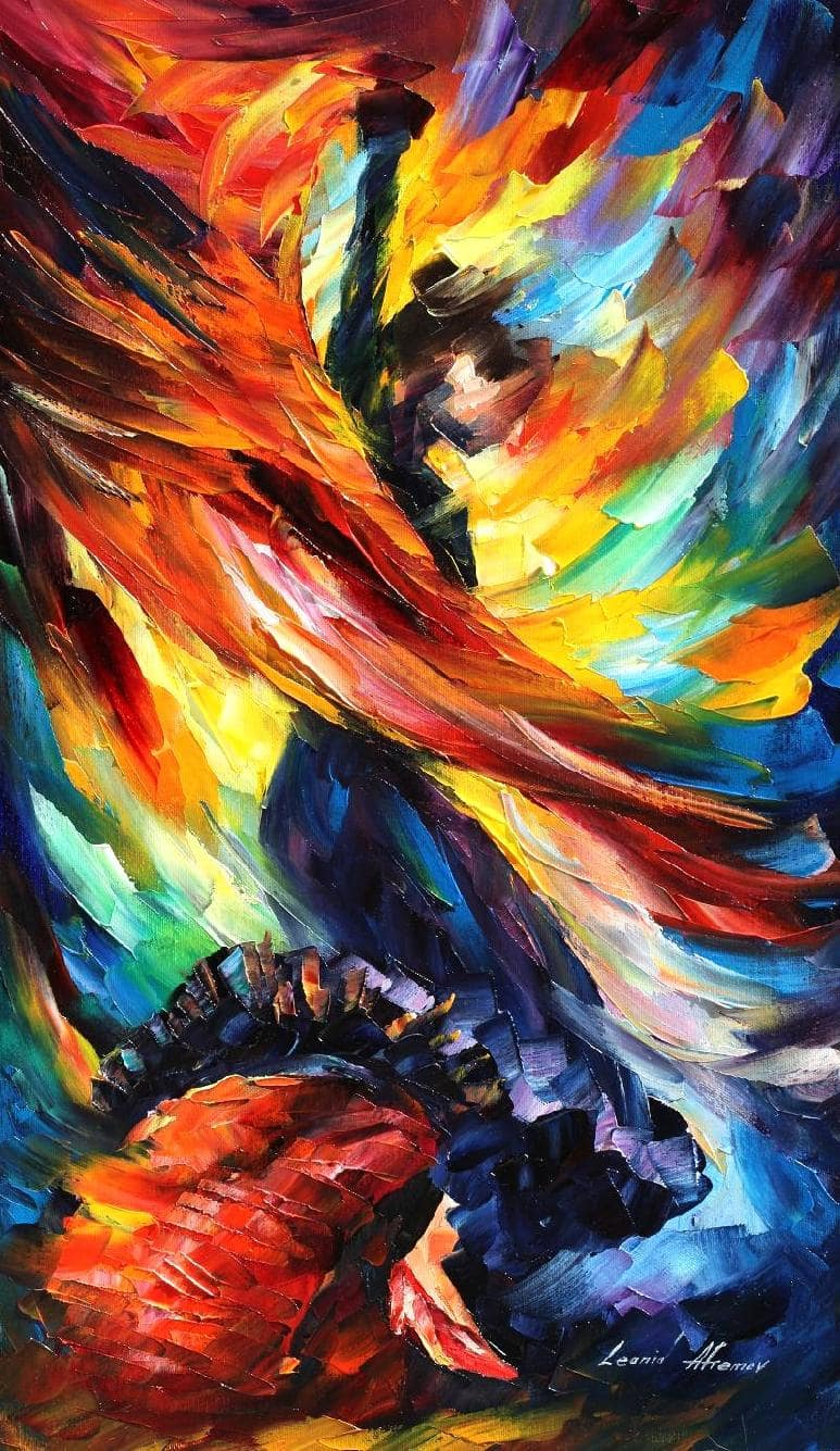 BEAUTIFUL DANCE  Palette knife Oil Painting on Canvas by Leonid Afremov  Size 15x25 35cm x