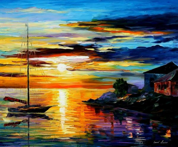 Sicily Messina Palette Knife Oil Painting Canvas