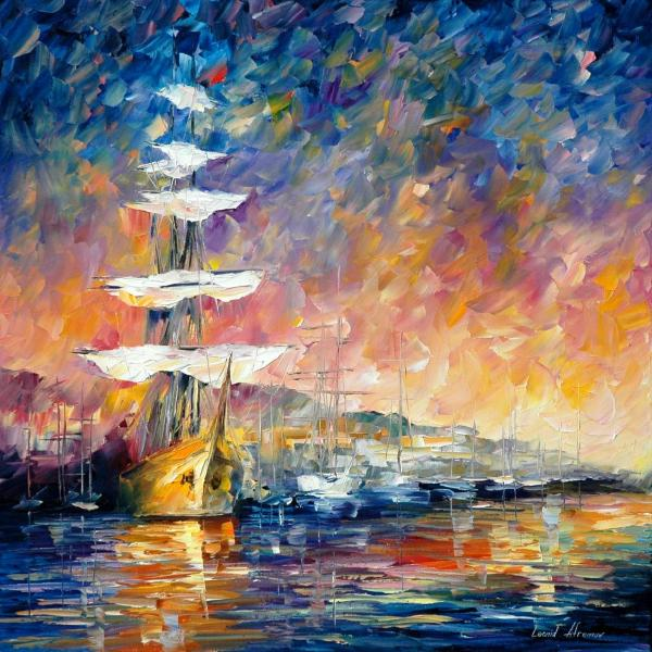 Sailboats In Sunrise Palette Knife Oil Painting