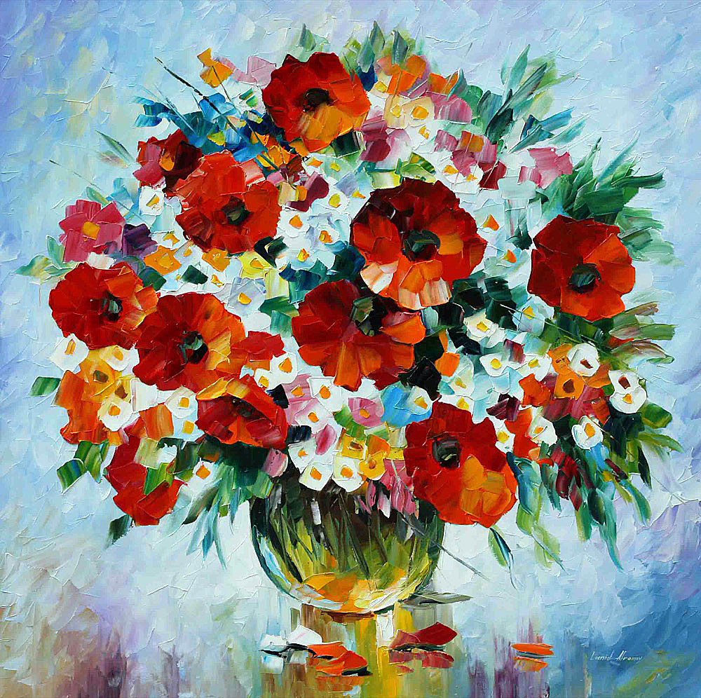 WINTER BOUQUET  PALETTE KNIFE Oil Painting On Canvas By