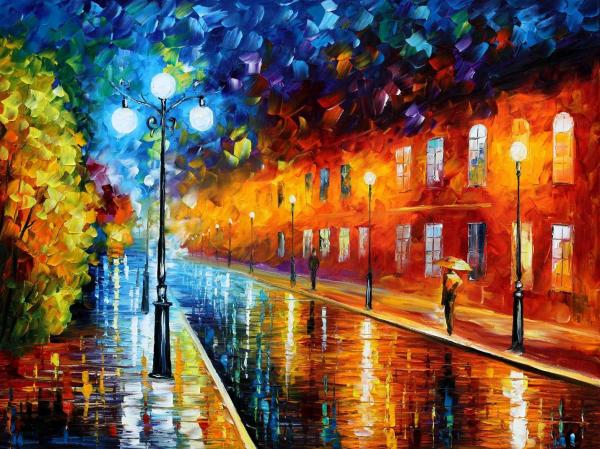 Blue Lights Original Oil Painting Canvas Leonid