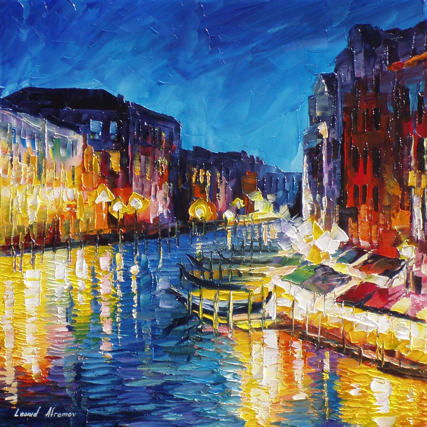 Venice In Color Palette Knife Oil Painting On Canvas By