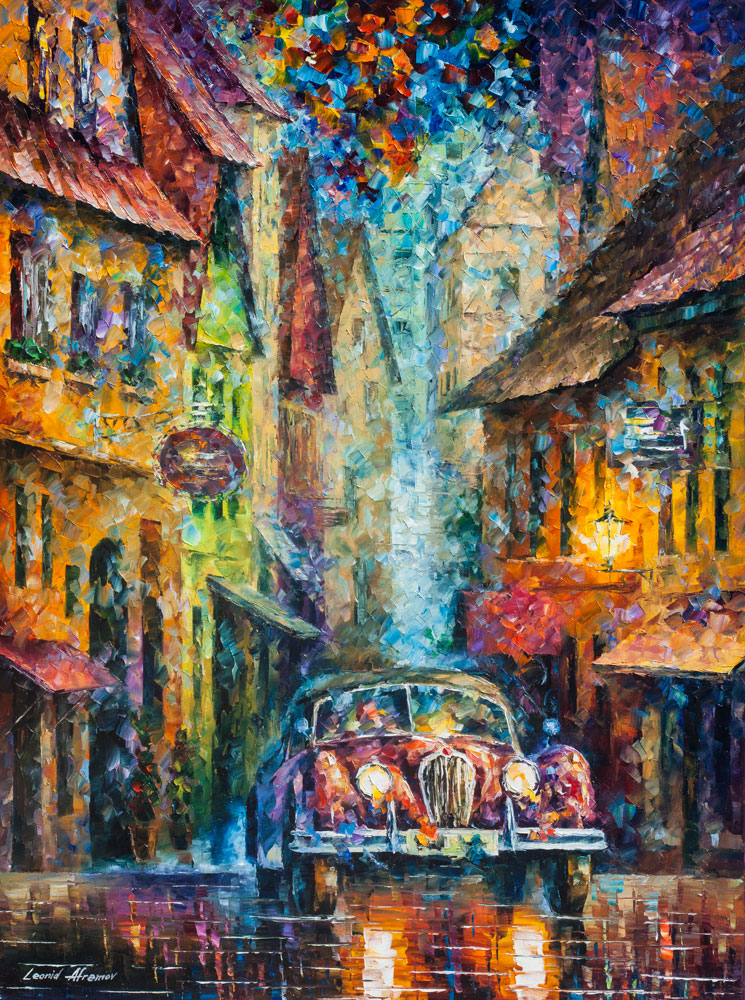 VINTAGE CAR COLLECTION  PIECE 214  palette knife Oil