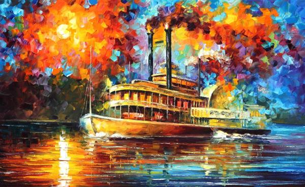 Orleans River Palette Knife Oil Painting Canvas