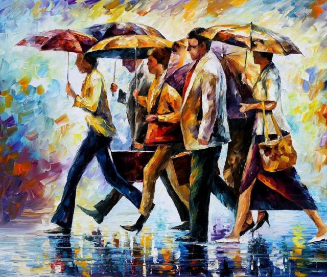 Today I Forgot My Umbrella Palette Knife Oil Painting On Canvas By Leonid Afremov