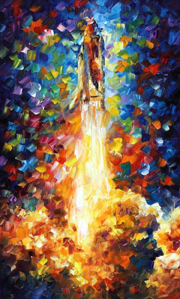 "Space Shuttle Palette Knife Oil Painting Canvas Leonid Afremov - Size 24""x40"""
