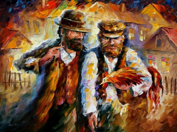 """Two Friends And Rooster Palette Knife Oil Painting Canvas Leonid Afremov - Size 40""""x30"""""""
