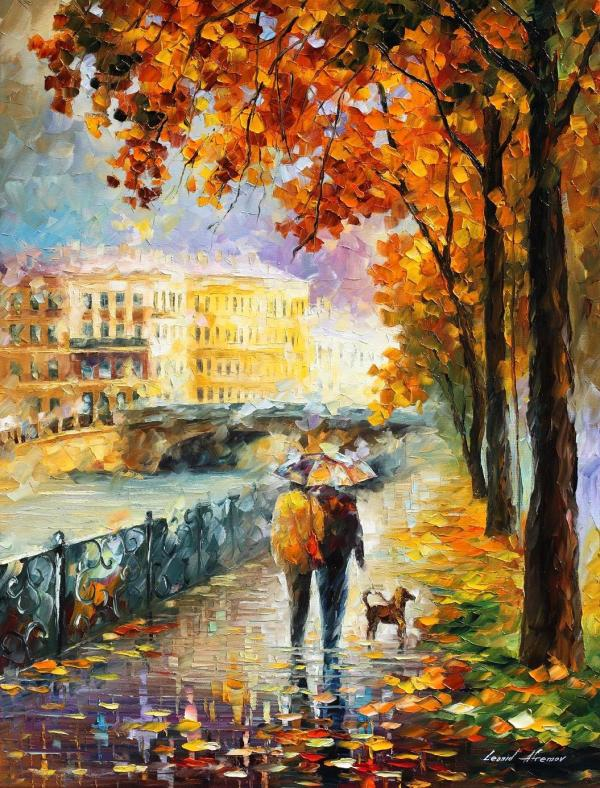 Afremov Original Oil Painting Palette Knife