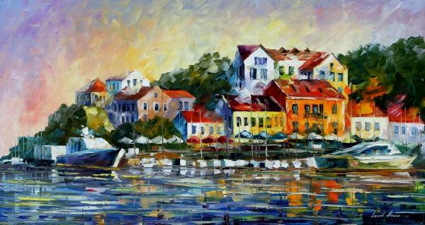 "Mediterranean Noon Palette Knife Oil Painting Canvas Leonid Afremov - Size 20""x36"""