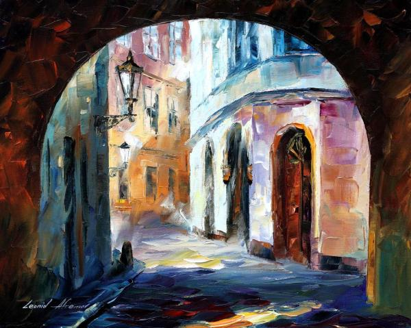 Town 1 Palette Knife Oil Painting Canvas