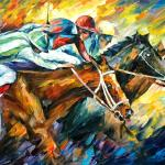 Leonid Afremov Oil On Canvas Palette Knife Buy Original Paintings Art Famous Artist Biography Official Page Online Gallery Large Artwork Fine Animal Pet Horse Rider Race Sport Horseman Competition