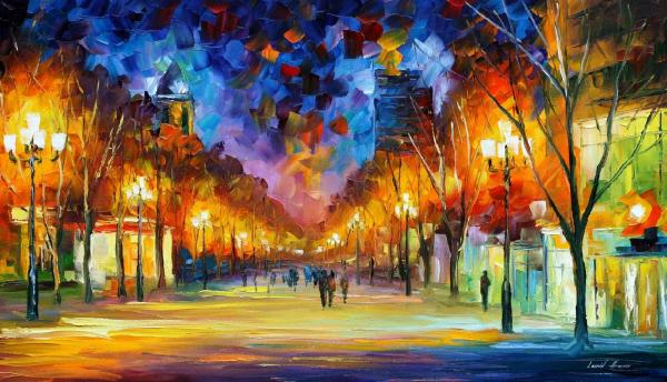 Holiday Aura Palette Knife Oil Painting Canvas