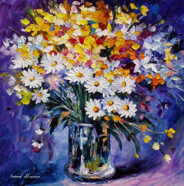 Colored-flowers Palette Knife Oil Painting Canvas