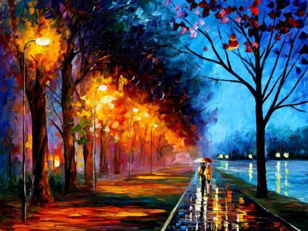 Alley Lake 2 Palette Knife Oil Painting Canvas