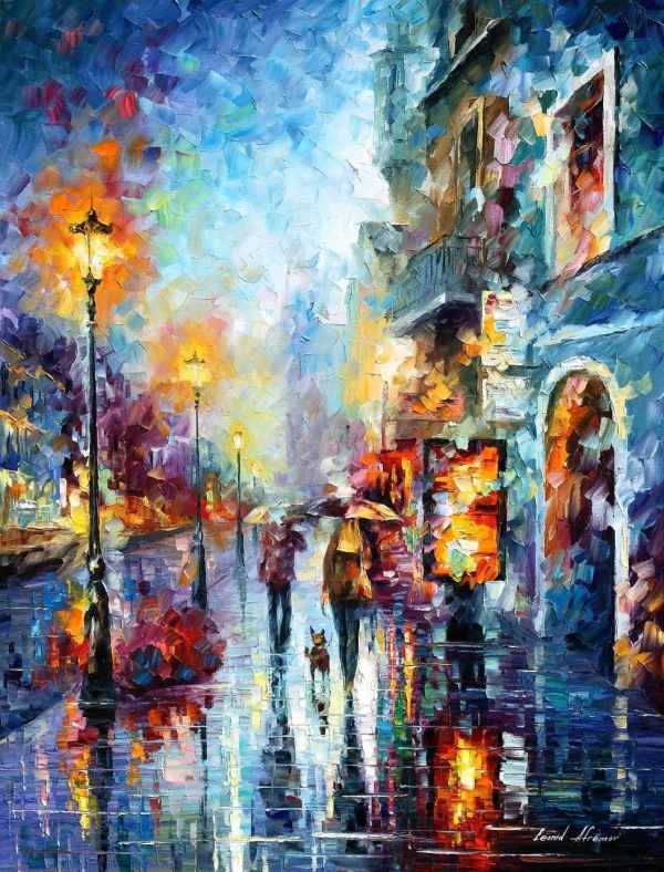 Abstract Wall Art Famous Painter Leonid Afremov Room Design. 100 Hand-painted Oil