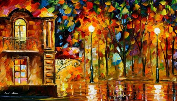 "Loving Palette Knife Oil Painting Canvas Leonid Afremov - Size 36""x20"""