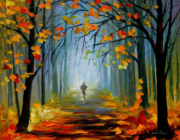 Morning Jog Palette Knife Oil Painting Canvas