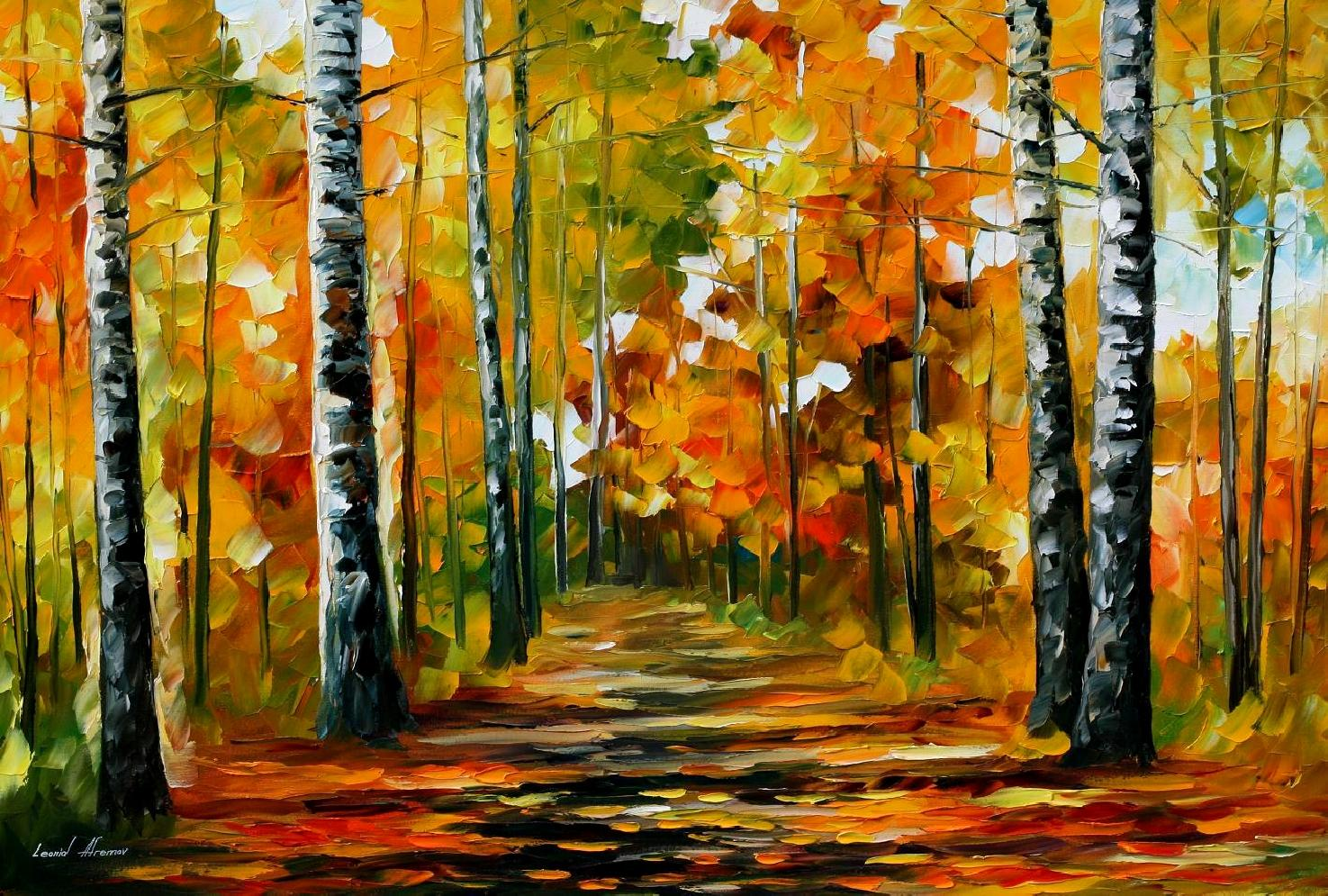 Birch Tree Fall Wallpaper Fiesta Of Birches Palette Knife Oil Painting On Canvas