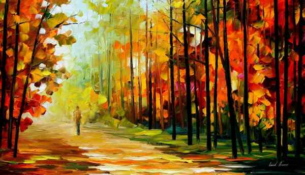 "Gold Of Nature Palette Knife Oil Painting Canvas Leonid Afremov - Size 36""x20"""