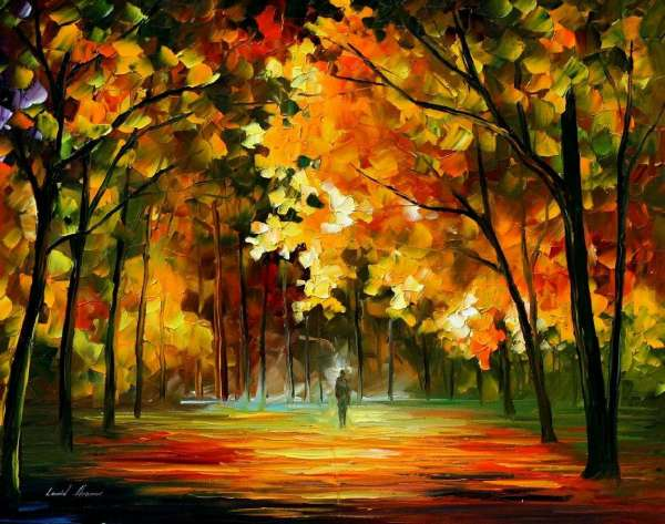 Fall Leaves Watercolor Wallpaper Feast Of Leafs Palette Knife Oil Landscape Painting On