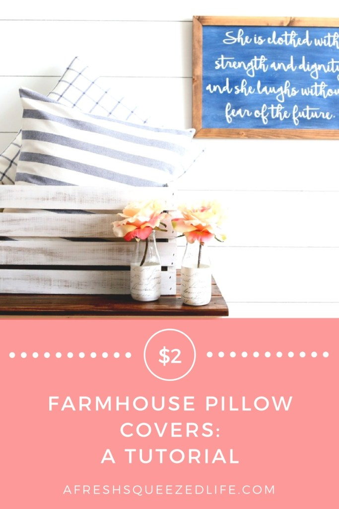 Farmhouse Pillow Covers are all the rage these days! All it takes is $2 and you can sew them up for your living room! $2 FARMHOUSE PILLOW COVERS: A TUTORIAL