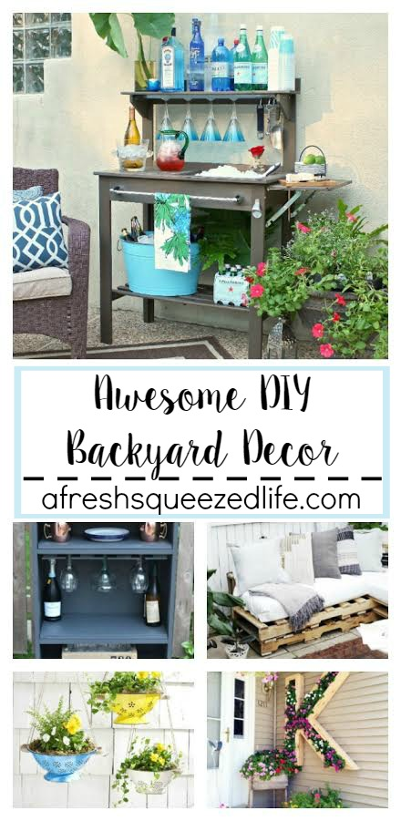 Warm weather has me dreaming of ways to make my outdoor space more usable! I have found some great ideas for awesome DIY backyard decor! AWESOME DIY BACKYARD DECOR