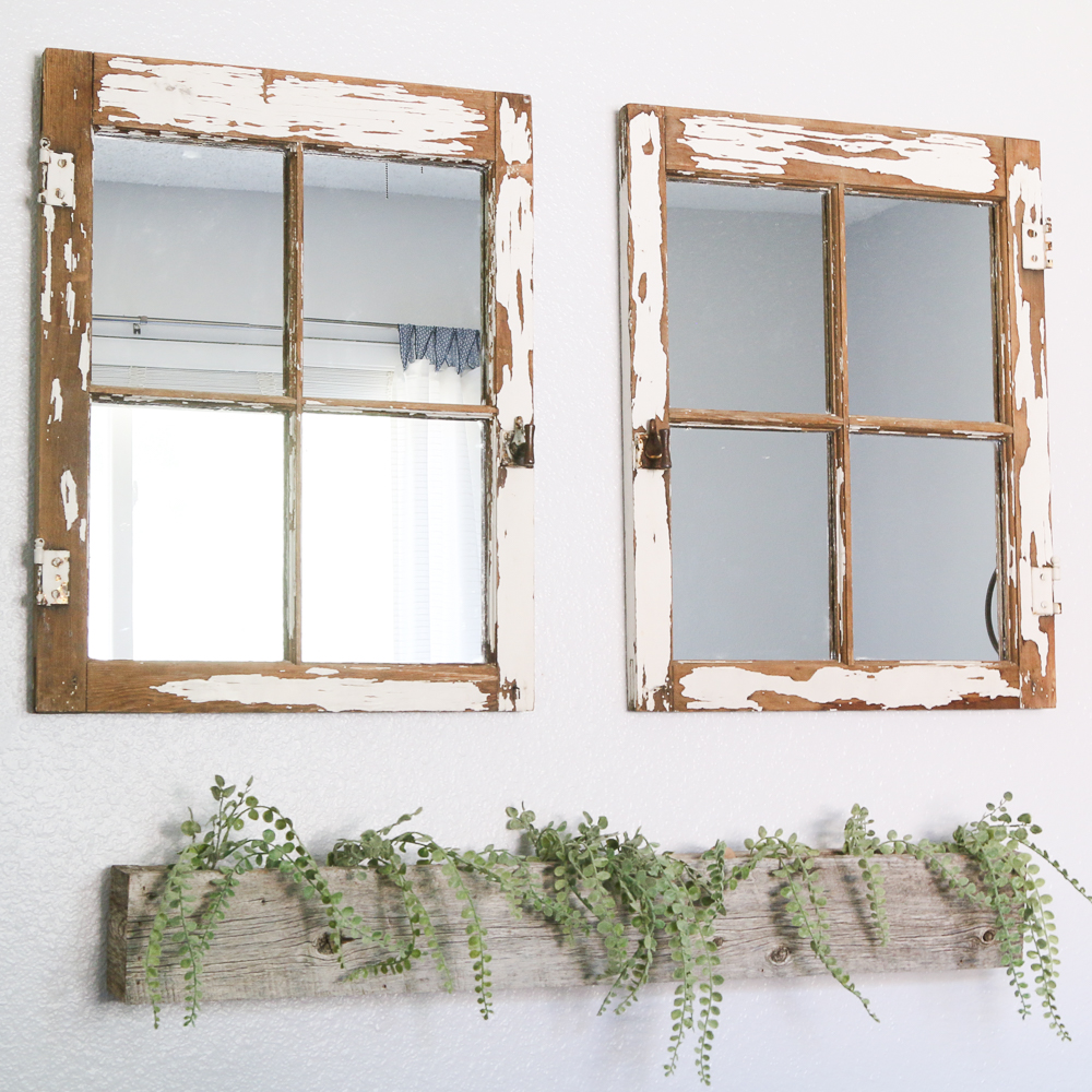 I have too many vintage windows! They are abundant and people like to give them to me! Let me show you how to turn a vintage window into a mirror! HOW TO TURN A VINTAGE WINDOW INTO A MIRROR