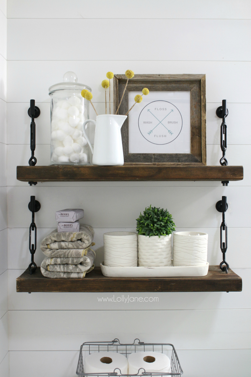 HOW TO MAKE DIY BATHROOM SHELVES - A Fresh-Squeezed Life