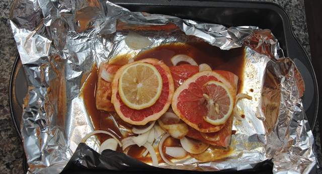 Roasted Salmon Grapefruit Ginger