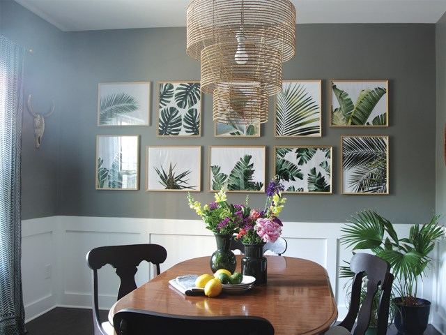 Tropical Palm Leaves Gallery Wall Dining Room