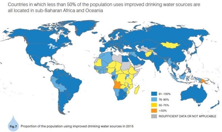 (H) 給水率世界地図