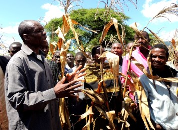A farmer explaining to other farmers the technologies on the AR demonstration plot on his farm.