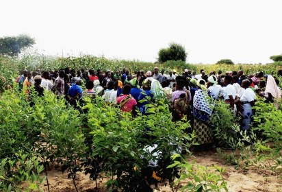 Researchers address the farmers at the startof the exercise