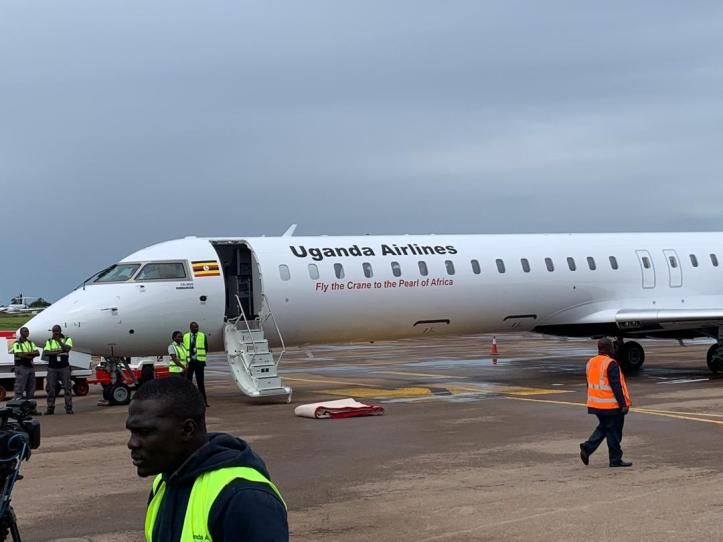 One of the Bombardier CRJ900 aircraft belonging to Uganda Airlines after it touched down at Entebbe International Airport on Tuesday, April 23 2019.