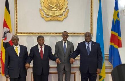 Diplomatie : Quatrième rencontre ce vendredi entre Lourenço, Tshisekedi, Kagame et Museveni à la frontière de Gatuna