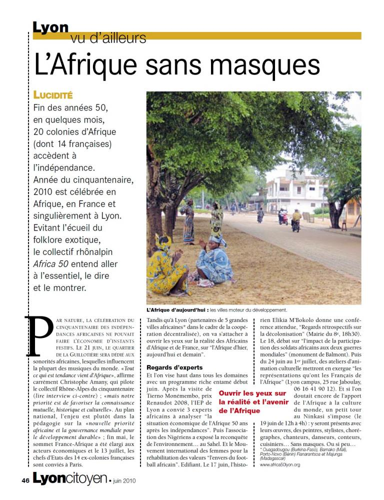 """""""L'Afrique sans masques"""""""