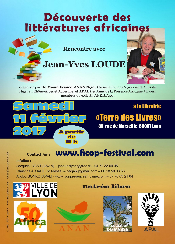 [LITTÉRATURE] Jean-Yves LOUDE 1er invité des découvertes littéraires africaines et caribéennes le 11 février 2017 à Lyon
