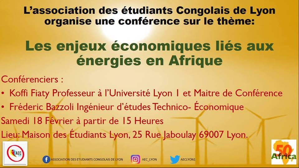les étudiants congolais (AEC) organisent une conférence : Les enjeux économiques liés aux énergies en Afrique