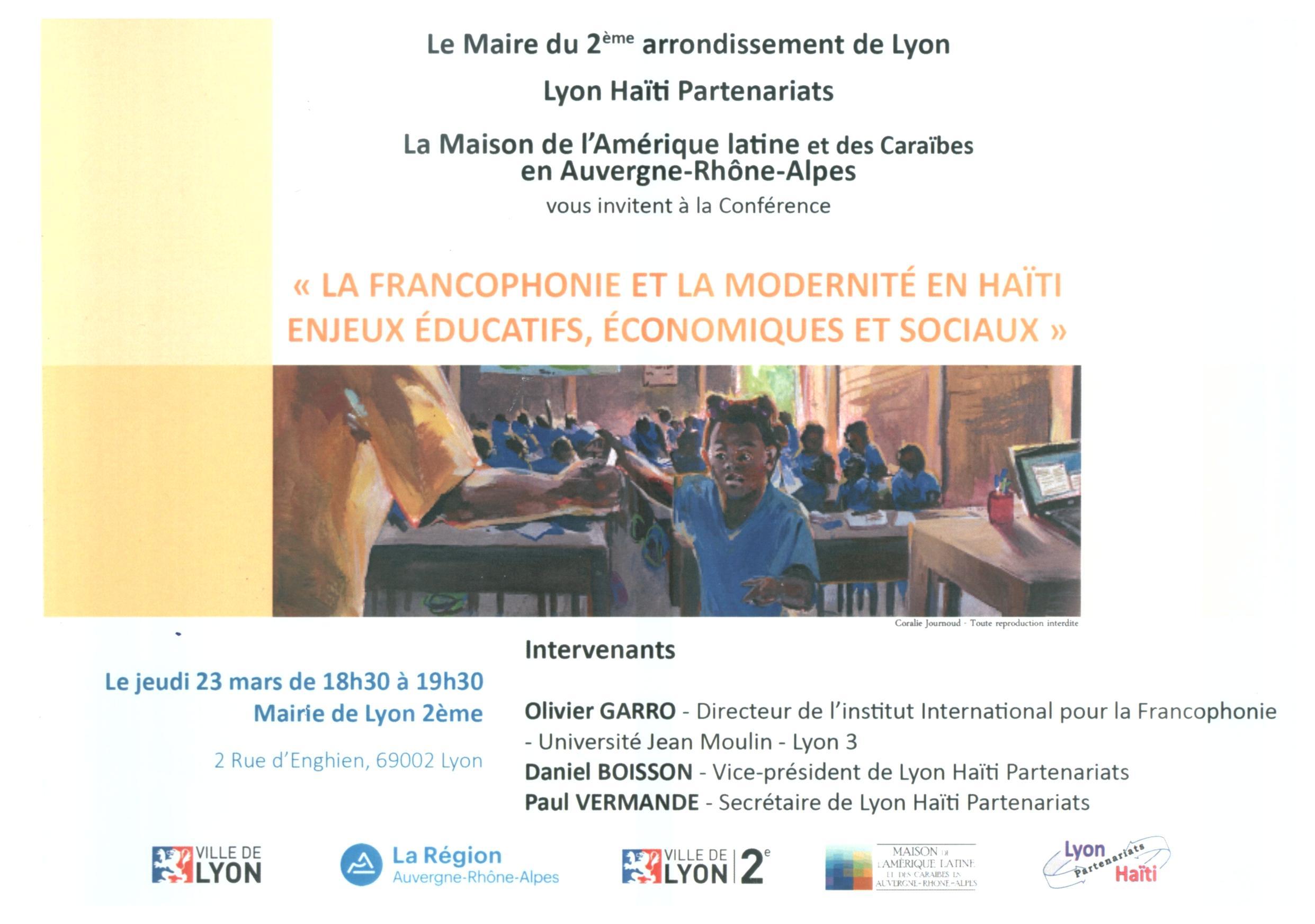 Lyon Haïti Partenariats a organisé une conférence autour de la Francophonie le 23 mars 2017