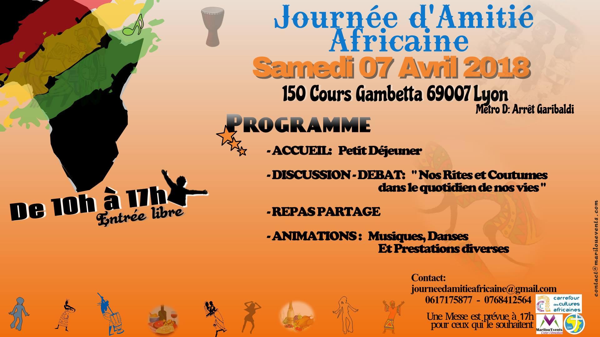[ECHANGES]  Journée de l'Amitié Africaine au Carrefour des Cultures Africaine le le 7 avril 2018