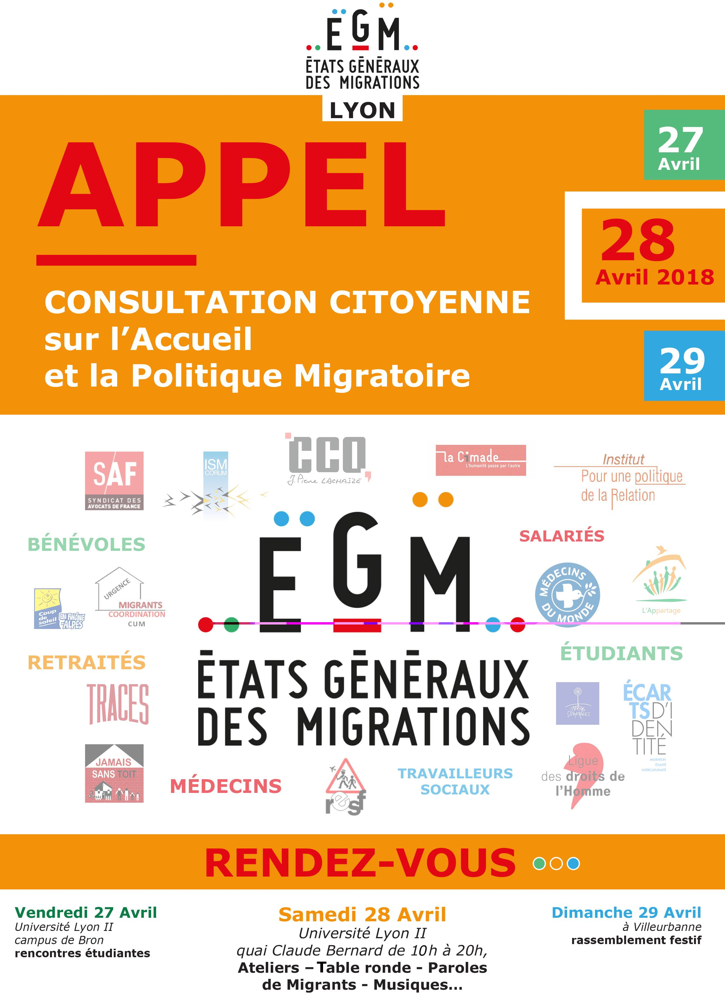 [DEBAT] Consultation citoyenne « Pour une politique migratoire humaine et digne »samedi 28 avril 2018 à Lyon