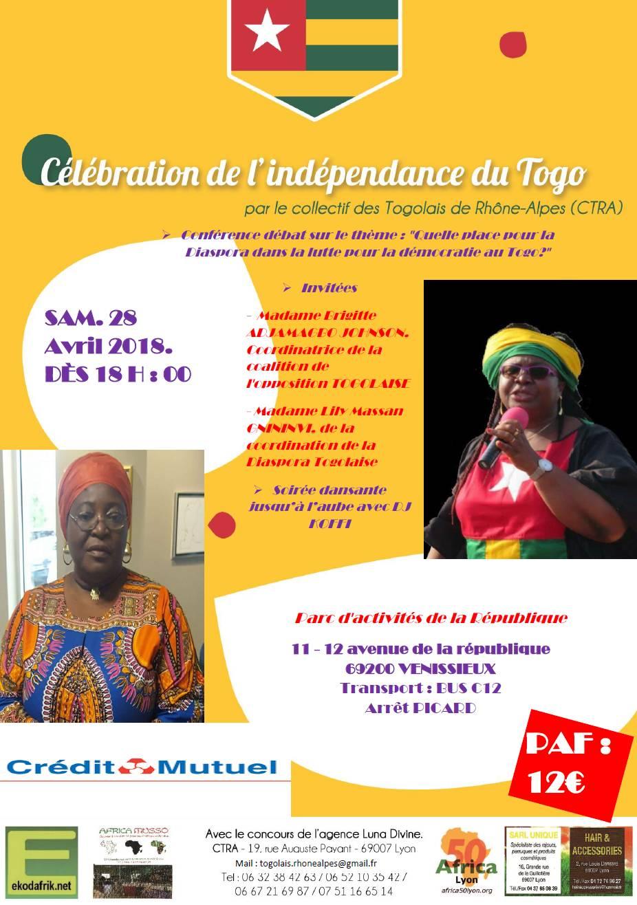 [TOGO] Célébration de la fête de l'indépendance à Lyon samedi 28 avril 2018