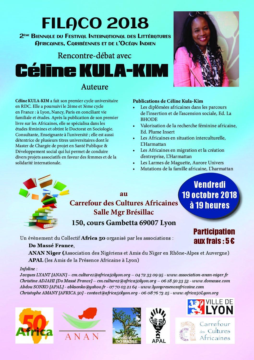 [LITTERATURE] Céline Kula Kim au FIALCO le 19 octobre 2018 au Carrefour des Cultures Africaines