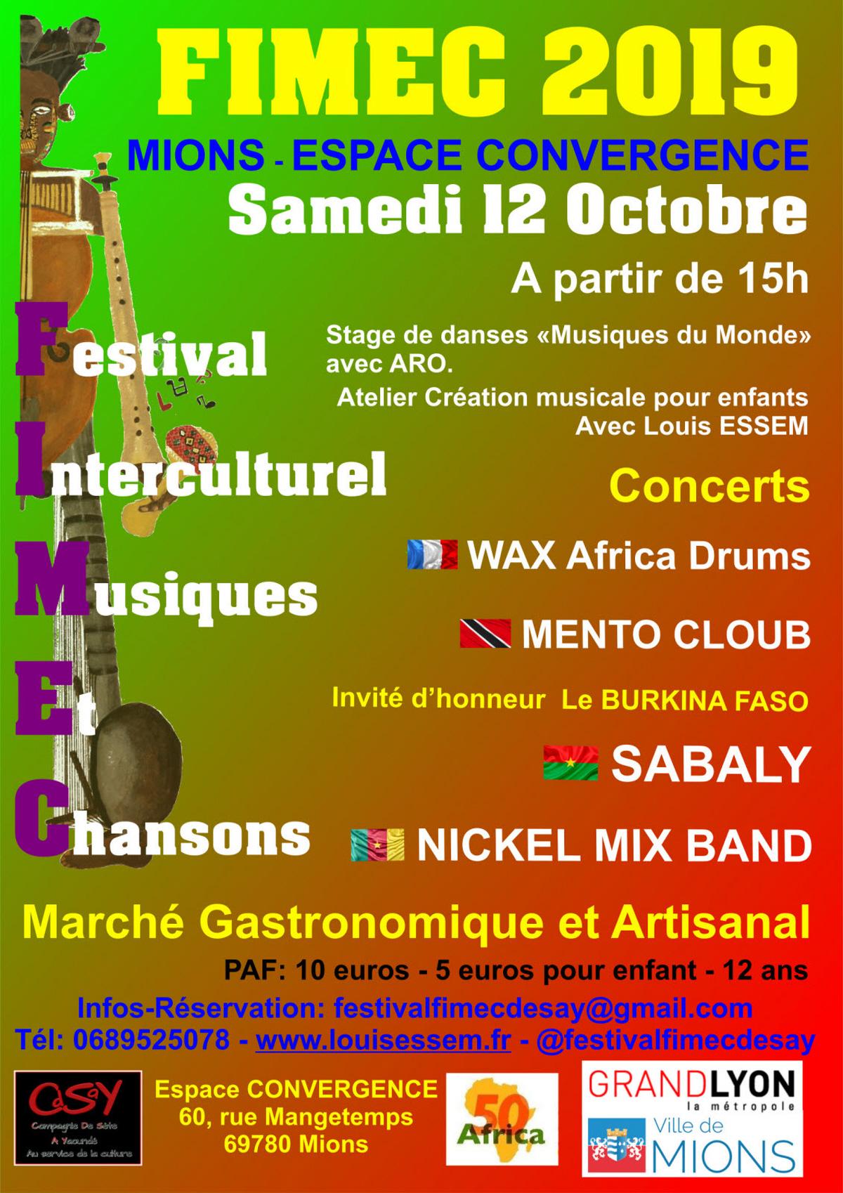 [CULTURE] 3e édition du FIMEC (Festival interculturel de Musiques et Chansons) à Mions (69) samedi 12 octobre 2019