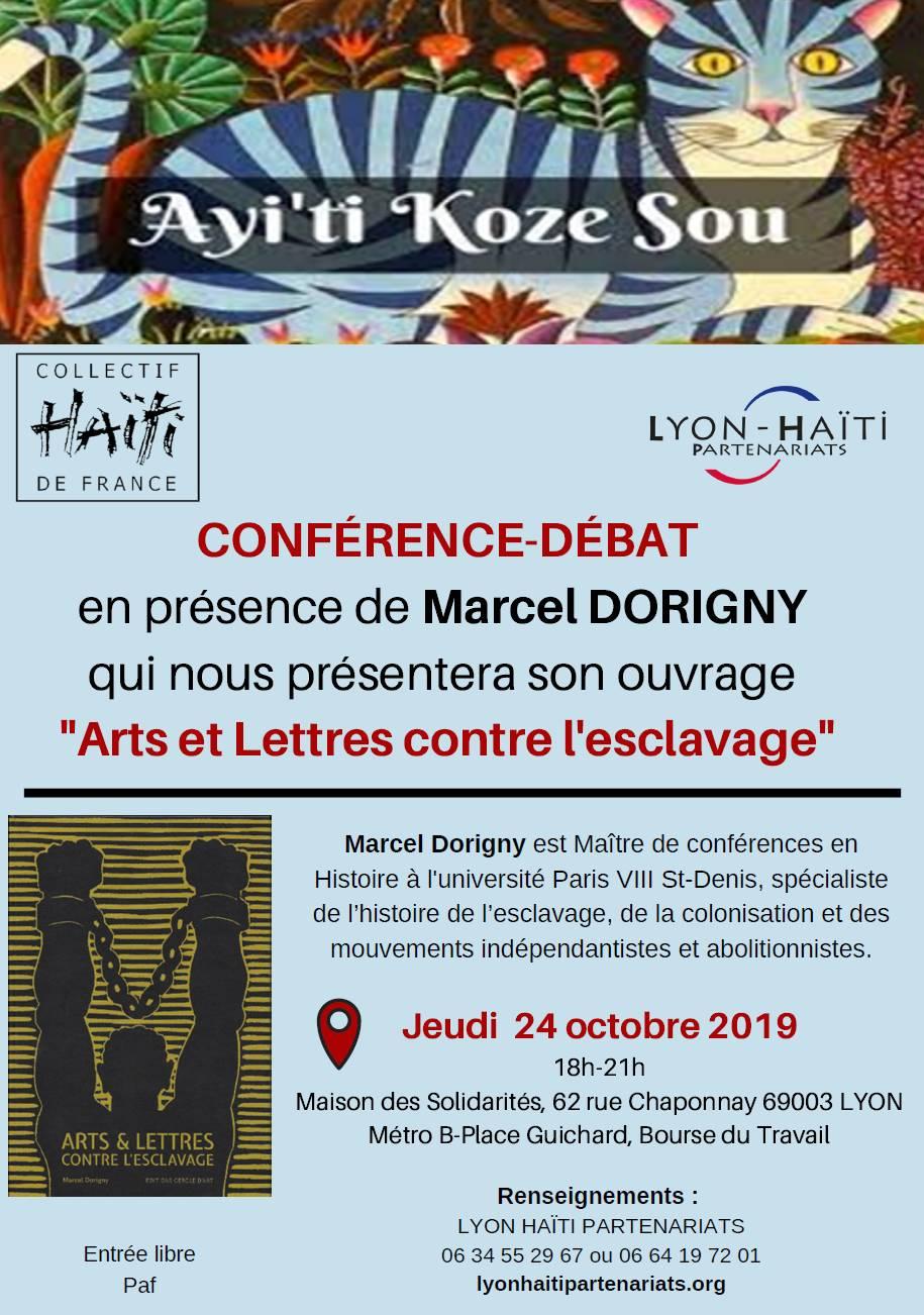 """[HAITI] Conférence jeudi 24 octobre 2019 à Lyon de Marcel DORIGNY et présentation de son livre """"Arts et Lettres contre l'esclavage"""""""