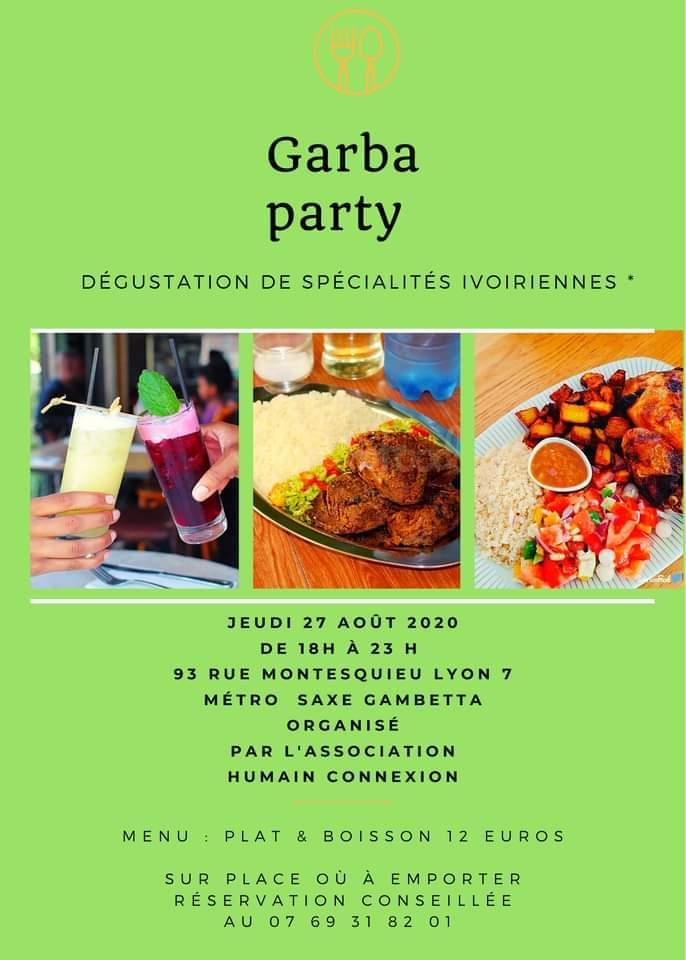 """[DECOUVERTES] """"Garba Party"""" #3 un voyage culinaire en Côte d'Ivoire dans une belle ambiance jeudi 27 août 2020 à Lyon"""