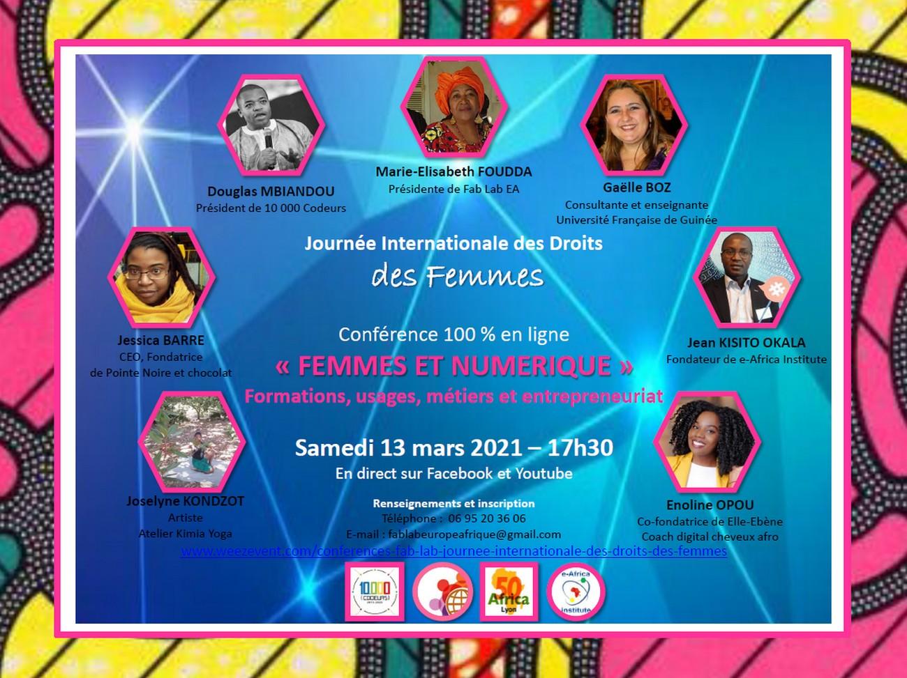 [JIDF 2021] Table-ronde « Femmes et numérique : formations, usages, métiers et entrepreneuriat » Samedi 13 mars 2021 à 17h30 en visio