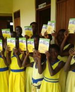Middle school students with the books